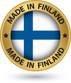 Made in Finland gold label with flag vector image