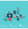 Abstract medical background with flat web icons vector image