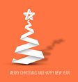 Simple christmas tree made from paper stripe vector image