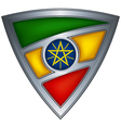 steel shield with flag ethiopia vector image