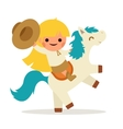 Little Happy Girl Ride Horse Pony Cowboy Cowgirl vector image