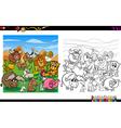 cartoon animals coloring page vector image vector image