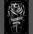 Skull Rose and Coffin vector image