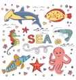 Colorful marine hand drawn clipart vector image vector image