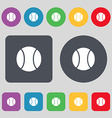 baseball icon sign A set of 12 colored buttons vector image