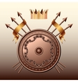 Crown Bronze shield and crossed spears vector image