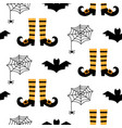 halloween seamless pattern with bats and spiders vector image