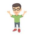 happy caucasian boy standing with raised hands vector image