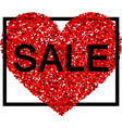 sale background with red heart vector image