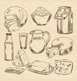 vintage hand drawn of yogurt vector image
