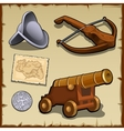 Vintage set of weapons and strategic items vector image