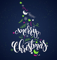 christmas hand lettering phrase - merry christmas vector image