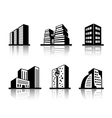 Set of black and white building icons vector image