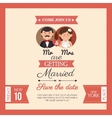 wedding card mr mrs style vintage design graphic vector image