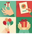 set of greeting card in flat style vector image vector image