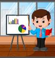 businessman presentation cartoon vector image