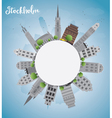 Stockholm Skyline with Grey Buildings vector image