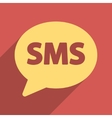 SMS Bubble Flat Longshadow Square Icon vector image