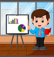 businessman presentation cartoon vector image