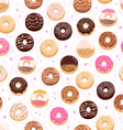 Donuts and little hearts seamless pattern vector image