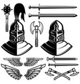 knight helmets swords axes design elements for vector image