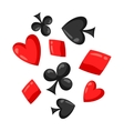Set of casino red and black card suits falling vector image