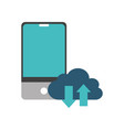 smartphone and cloud computing design vector image