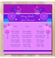 Table guest list background with winter vector image