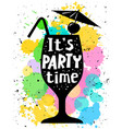 cocktail glass silhouette its party time vector image vector image