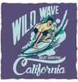 surfing t-shirt label design vector image