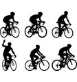 racing bicyclists silhouettes collection vector image