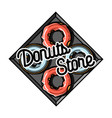 color vintage donuts store emblem vector image