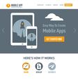 Trendy flat website template with starting rocket vector image
