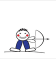 Cheerful man shooting a bow vector image