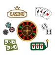 Casino and gambling icons set vector image