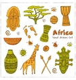 Africa sketch icons set vector image