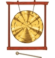 Golden Gong Hanging in a Frame vector image