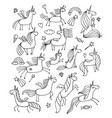 magic unicorns design for coloring book vector image