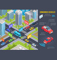 modern unmanned vehicles infographic and cityscape vector image