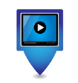 Play icon on blue glossy button vector image