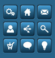 set of blue web square buttons vector image