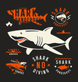 Shark dangerous emblems vector image