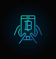 smartphone with bitcoin in hands blue concept vector image