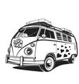 Retro car Peace love travel Van vector image