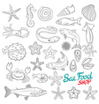 Set of Sketch Sea Food vector image vector image