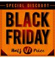 Black friday sale banner on patterned orange backg vector image