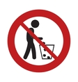prohibited man throwing trash can sign road vector image