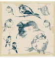 Sparrows retro collection vector image