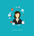 flat design with icons technical support vector image