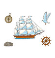 ship compass seagull rope and steering wheel vector image